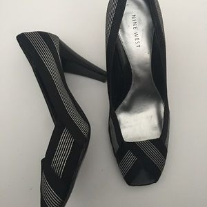 Nine West Pinstripe Peeptoe Classic Heels